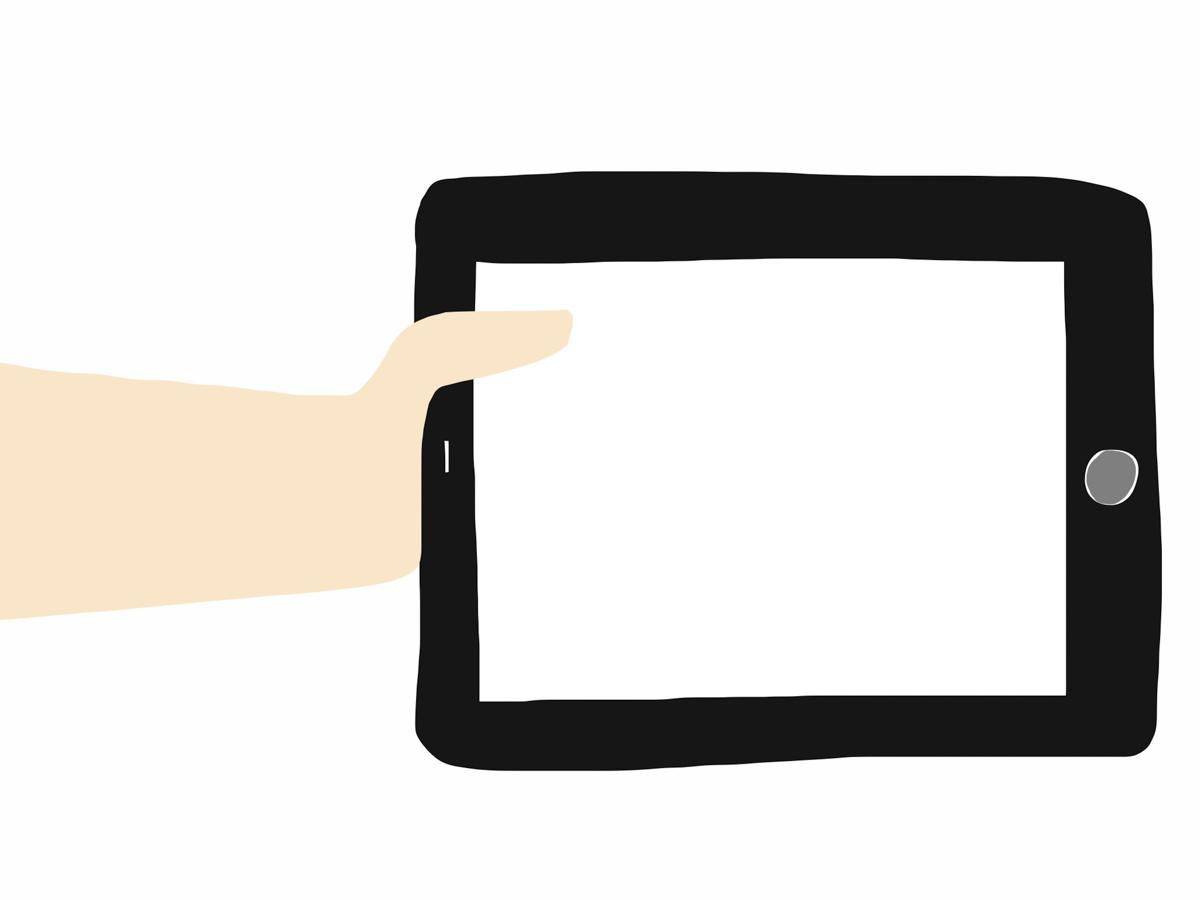 iPad with Hand